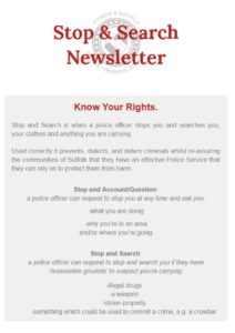 thumbnail of Stop and Search newsletter